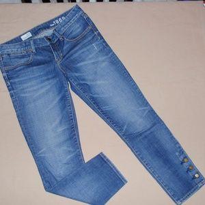 Gap Always Skinny Cropped Jeans w Buttons Sz 27 4